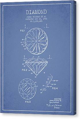Diamond Patent From 1966- Light Blue Canvas Print by Aged Pixel