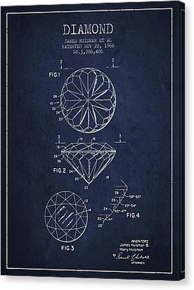 Diamond Patent From 1966- Navy Blue Canvas Print by Aged Pixel