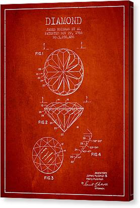 Diamond Patent From 1966- Red Canvas Print by Aged Pixel