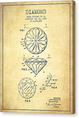 Diamond Patent From 1966- Vintage Canvas Print by Aged Pixel