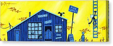 Cartoon Canvas Print featuring the painting Did You See That by Dan Keough