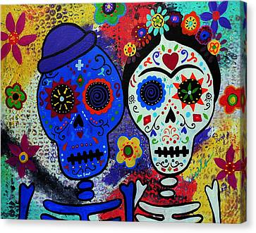 Diego Rivera And Frida Kahlo Dia De Los Muertos Canvas Print by Pristine Cartera Turkus
