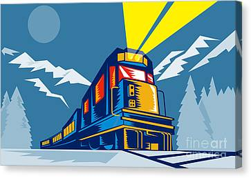Diesel Train Winter Canvas Print by Aloysius Patrimonio