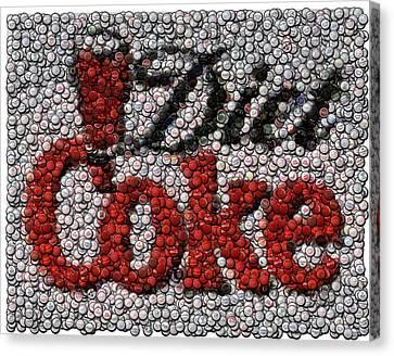 Diet Coke Bottle Cap Mosaic Canvas Print by Paul Van Scott