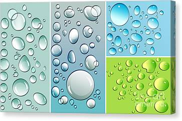 Different Size Droplets On Colored Surface Canvas Print by Sandra Cunningham