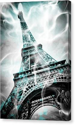 Digital-art Eiffel Tower Paris Canvas Print by Melanie Viola