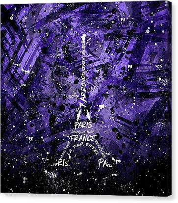 Digital Art Eiffel Tower - Purple Canvas Print by Melanie Viola