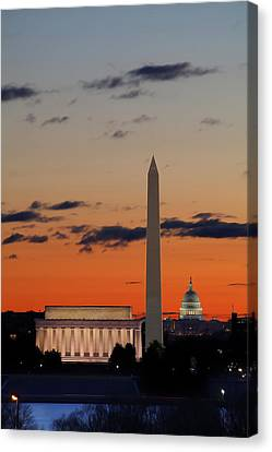 Digital Liquid -  Monuments At Sunrise Canvas Print by Metro DC Photography