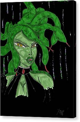 Digital Medusa Canvas Print by Ronald Woods