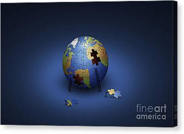 Digitally Generated Image Of The Earth Canvas Print by Vlad Gerasimov