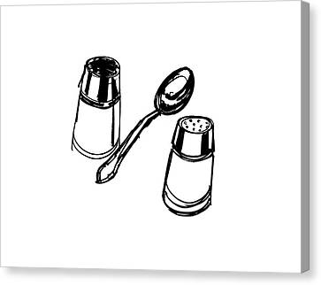 Diner Drawing Salt, Pepper, And Spoon Canvas Print by Chad Glass
