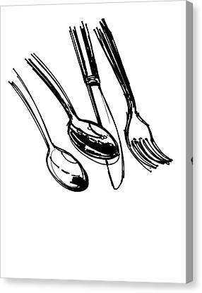 Diner Drawing Spoons, Knife, And Fork Canvas Print by Chad Glass