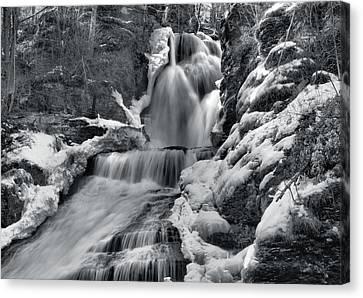 Dingmans Falls In Winter Canvas Print by Stephen  Vecchiotti