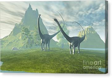 Dinosaur Land Canvas Print by Corey Ford