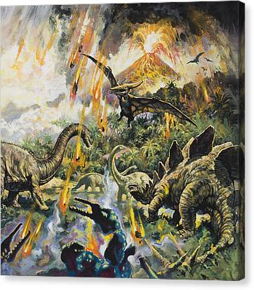 Dinosaurs And Volcanoes Canvas Print by English School