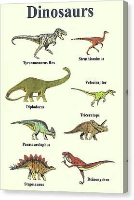 Dinosaurs Collage - Portrait Canvas Print by Michael Vigliotti
