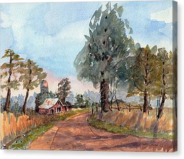 Dirt Road Farm - Watercolor Canvas Print by Barry Jones