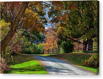Dirt Road Through Vermont Fall Foliage Canvas Print by Jeff Folger