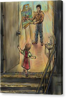 Discovering Daddy's World Canvas Print by Dawn Senior-Trask