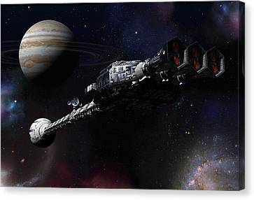 Discovery Near Jupiter Canvas Print by Joseph Soiza
