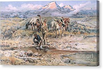 Discovery Of Last Chance Gulch Montana Canvas Print by Charles Marion Russell