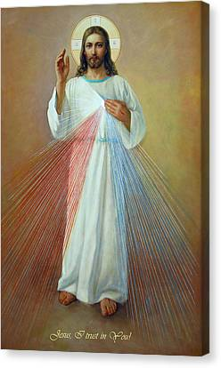 Divine Mercy - Jesus I Trust In You Canvas Print by Svitozar Nenyuk