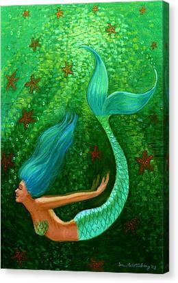 Diving Mermaid Fantasy Art Canvas Print by Sue Halstenberg