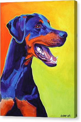 Doberman - Miracle Canvas Print by Alicia VanNoy Call