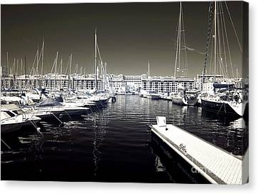 Dock In The Port Canvas Print by John Rizzuto
