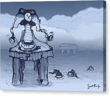 Cartoon Canvas Print featuring the digital art Dock Jester by Scott Rolfe