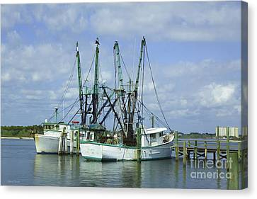 Docked In Port Orange Canvas Print by Deborah Benoit