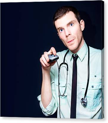 Doctor Going Online For Medical Health Care Canvas Print by Jorgo Photography - Wall Art Gallery