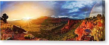 Doe Mountain Rainbow Canvas Print by Bill Caldwell -        ABeautifulSky Photography