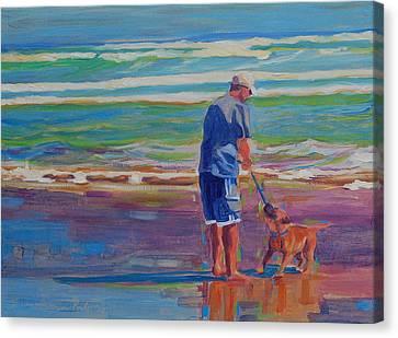 Dog Beach Play Canvas Print by Thomas Bertram POOLE
