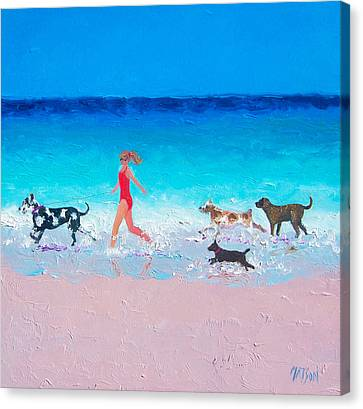 Dog Jog Canvas Print by Jan Matson