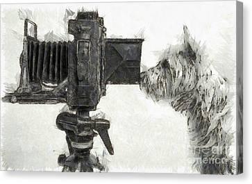 Dog Photographer Pencil Canvas Print by Edward Fielding