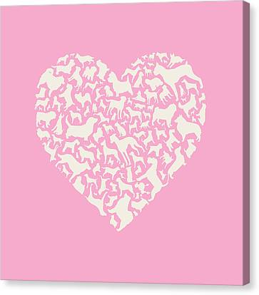 Dog Valentine Canvas Print by Mitch Frey
