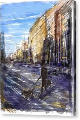 Dog Walks Man Canvas Print by Russell Pierce