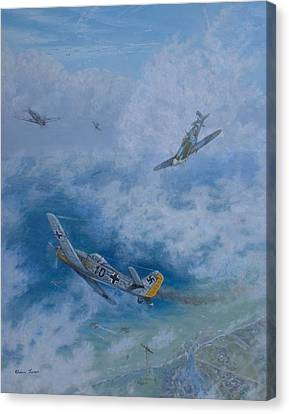 Dogfight Over Dieppe 19 August 1942 Canvas Print by Elaine Jones