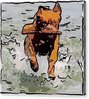 Doggie Delightdoggie Delight Abstract Dog Art Canvas Print by Omaste Witkowski