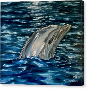Dolphin Curiosity Oil Painting Canvas Print by Avril Brand