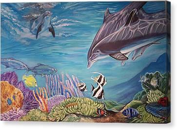 Dolphin Pod Canvas Print by Diann Baggett