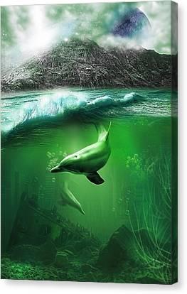 Dolphins Canvas Print by Svetlana Sewell