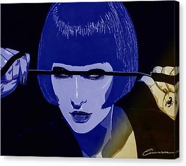 Dominatrix In Blue Canvas Print by Joe Ciccarone
