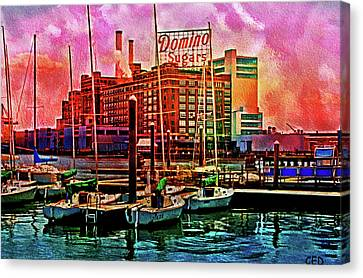Dominos Sugars At Dawn  Baltimore Md.  Canvas Print by Chet  Dembeck