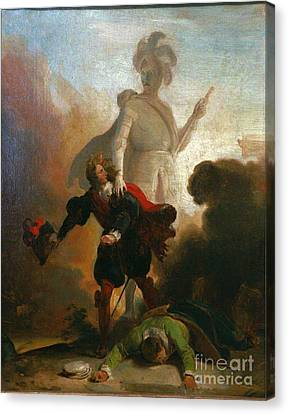 Don Giovanni Confronts The Stone Guest Canvas Print by Celestial Images