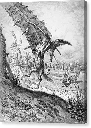 Don Quixote And The Windmills Canvas Print by Gustave Dore