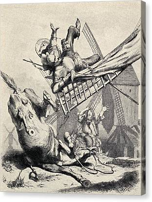 Don Quixote Attacking The Windmills Canvas Print by Vintage Design Pics