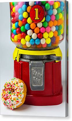 Donut And Bubblegum Machine Canvas Print by Garry Gay