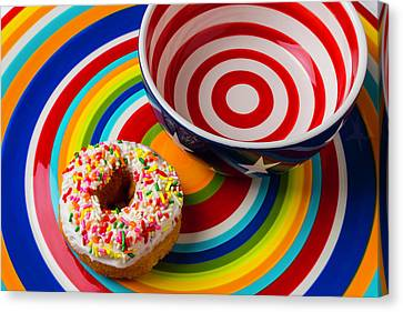 Donut Blowl And Plate Canvas Print by Garry Gay